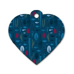 Sea World Fish Ccoral Blue Water Dog Tag Heart (Two Sides)