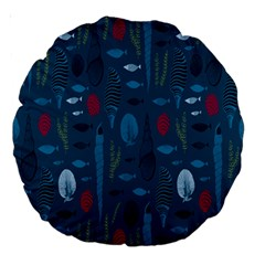 Sea World Fish Ccoral Blue Water Large 18  Premium Round Cushions