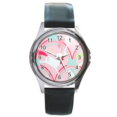 Unicorn Animals Horse Pink Rainbow Round Metal Watch