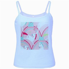 Unicorn Animals Horse Pink Rainbow Baby Blue Spaghetti Tank