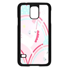 Unicorn Animals Horse Pink Rainbow Samsung Galaxy S5 Case (Black)