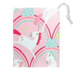 Unicorn Animals Horse Pink Rainbow Drawstring Pouches (xxl)