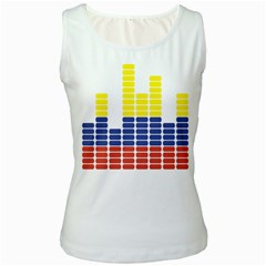 Volumbia Olume Circle Yellow Blue Red Women s White Tank Top