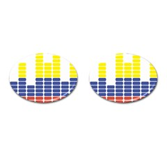 Volumbia Olume Circle Yellow Blue Red Cufflinks (Oval)