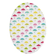 Umbrella Tellow Blue Red Pink Green Color Rain Kid Oval Ornament (Two Sides)