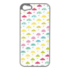 Umbrella Tellow Blue Red Pink Green Color Rain Kid Apple iPhone 5 Case (Silver)