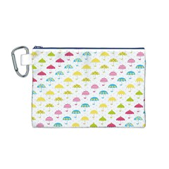 Umbrella Tellow Blue Red Pink Green Color Rain Kid Canvas Cosmetic Bag (M)
