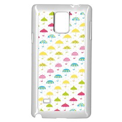 Umbrella Tellow Blue Red Pink Green Color Rain Kid Samsung Galaxy Note 4 Case (white)