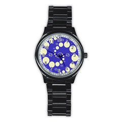 Vortical Universe Fractal Blue Stainless Steel Round Watch