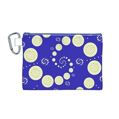 Vortical Universe Fractal Blue Canvas Cosmetic Bag (M)