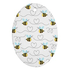 Wasp Bee Fly Yellow Black Blue Hanny Love Ornament (oval)