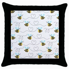 Wasp Bee Fly Yellow Black Blue Hanny Love Throw Pillow Case (Black)