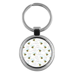 Wasp Bee Fly Yellow Black Blue Hanny Love Key Chains (Round)