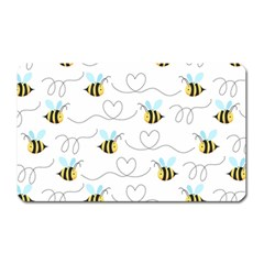Wasp Bee Fly Yellow Black Blue Hanny Love Magnet (Rectangular)