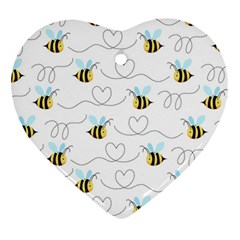 Wasp Bee Fly Yellow Black Blue Hanny Love Heart Ornament (Two Sides)