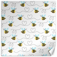 Wasp Bee Fly Yellow Black Blue Hanny Love Canvas 16  x 16