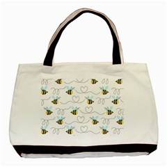 Wasp Bee Fly Yellow Black Blue Hanny Love Basic Tote Bag (Two Sides)