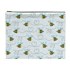 Wasp Bee Fly Yellow Black Blue Hanny Love Cosmetic Bag (XL)