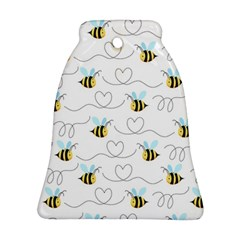Wasp Bee Fly Yellow Black Blue Hanny Love Bell Ornament (Two Sides)
