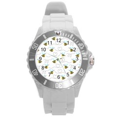 Wasp Bee Fly Yellow Black Blue Hanny Love Round Plastic Sport Watch (L)