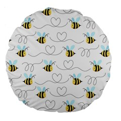 Wasp Bee Fly Yellow Black Blue Hanny Love Large 18  Premium Round Cushions