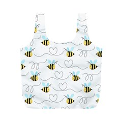 Wasp Bee Fly Yellow Black Blue Hanny Love Full Print Recycle Bags (M)