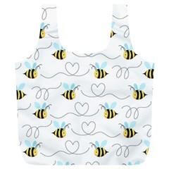 Wasp Bee Fly Yellow Black Blue Hanny Love Full Print Recycle Bags (l)