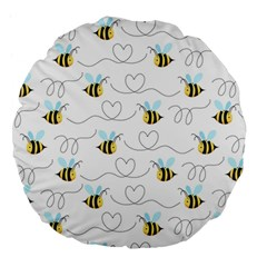 Wasp Bee Fly Yellow Black Blue Hanny Love Large 18  Premium Flano Round Cushions