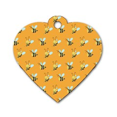 Wasp Bee Hanny Yellow Fly Animals Dog Tag Heart (One Side)