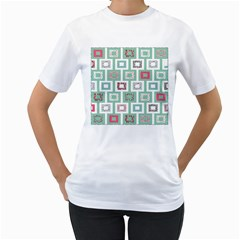 Foto Frame Cats Quilt Pattern View Collection Fish Animals Women s T-Shirt (White) (Two Sided)