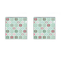 Foto Frame Cats Quilt Pattern View Collection Fish Animals Cufflinks (Square)