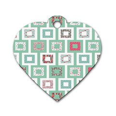 Foto Frame Cats Quilt Pattern View Collection Fish Animals Dog Tag Heart (Two Sides)