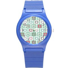 Foto Frame Cats Quilt Pattern View Collection Fish Animals Round Plastic Sport Watch (S)