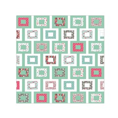 Foto Frame Cats Quilt Pattern View Collection Fish Animals Small Satin Scarf (Square)