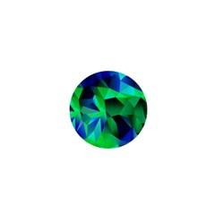 Galaxy Chevron Wave Woven Fabric Color Blu Green Triangle 1  Mini Magnets
