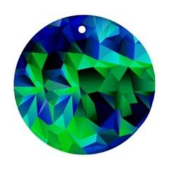 Galaxy Chevron Wave Woven Fabric Color Blu Green Triangle Ornament (round)