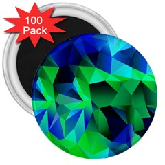 Galaxy Chevron Wave Woven Fabric Color Blu Green Triangle 3  Magnets (100 pack)