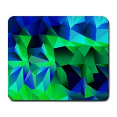 Galaxy Chevron Wave Woven Fabric Color Blu Green Triangle Large Mousepads