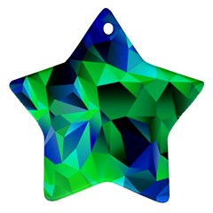 Galaxy Chevron Wave Woven Fabric Color Blu Green Triangle Star Ornament (Two Sides)