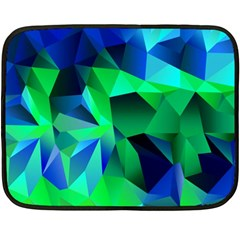 Galaxy Chevron Wave Woven Fabric Color Blu Green Triangle Double Sided Fleece Blanket (Mini)