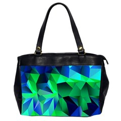 Galaxy Chevron Wave Woven Fabric Color Blu Green Triangle Office Handbags (2 Sides)