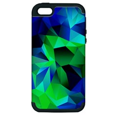 Galaxy Chevron Wave Woven Fabric Color Blu Green Triangle Apple iPhone 5 Hardshell Case (PC+Silicone)