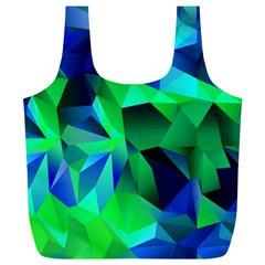 Galaxy Chevron Wave Woven Fabric Color Blu Green Triangle Full Print Recycle Bags (L)