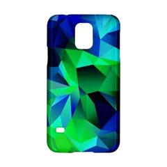 Galaxy Chevron Wave Woven Fabric Color Blu Green Triangle Samsung Galaxy S5 Hardshell Case