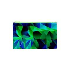 Galaxy Chevron Wave Woven Fabric Color Blu Green Triangle Cosmetic Bag (XS)