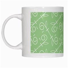 Formula Leaf Floral Green White Mugs