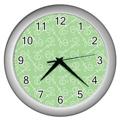 Formula Leaf Floral Green Wall Clocks (Silver)