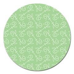 Formula Leaf Floral Green Magnet 5  (round)