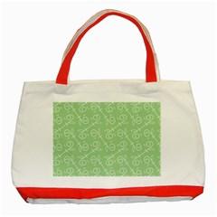 Formula Leaf Floral Green Classic Tote Bag (Red)