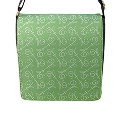 Formula Leaf Floral Green Flap Messenger Bag (L)